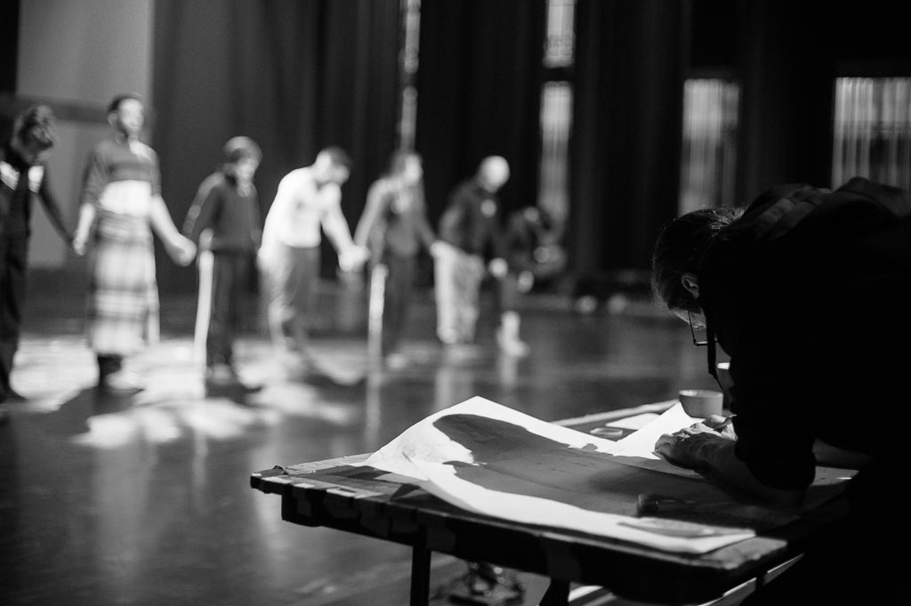 Dancers of Northwest Dance Project rehearse their bows at the Newmark Theatre
